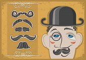 Vintage Gentleman Face In Bowler Hat And Mustaches On Old Paper Texture