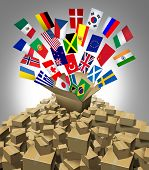 stock photo of mountain chain  - Global delivery Shipping and international package sending as a world parcel concept made of a mountain of cardboard boxes as a volcanoe with a group of flags as a symbol of fast service - JPG