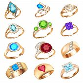 image of precious stones  - illustration set of rings with precious stones on a white background - JPG