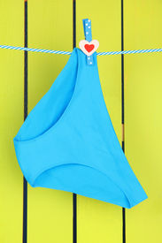 picture of womens panties  - Womans panties hanging on a clothesline - JPG