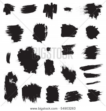 Grunge painted brush strokes. Design elements set.