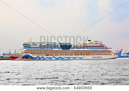 Amous Cruise Liner Aida Leaves The Harbor