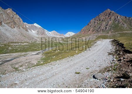 Gravel road in mountains