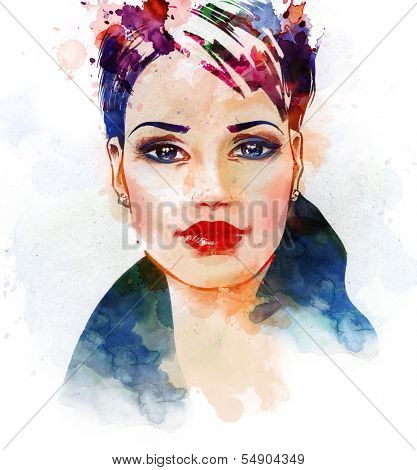 Watercolor fashion illustration of the beautiful young girl.