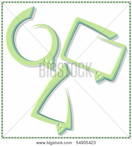 Green speech bubble with a frame - vector