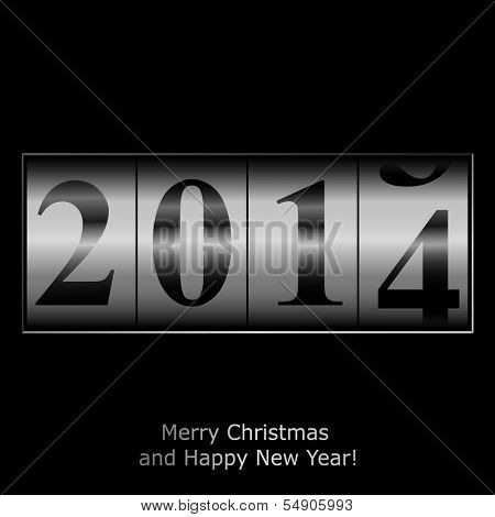 New Year counter in silver design. Vector eps10 illustration