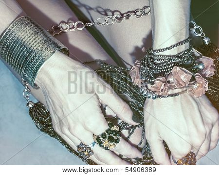 hands in stylish jewelry.fashion accesories