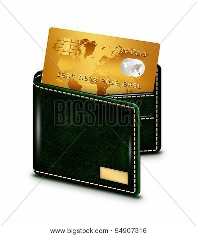 Gold Card In Wallet Over White Background
