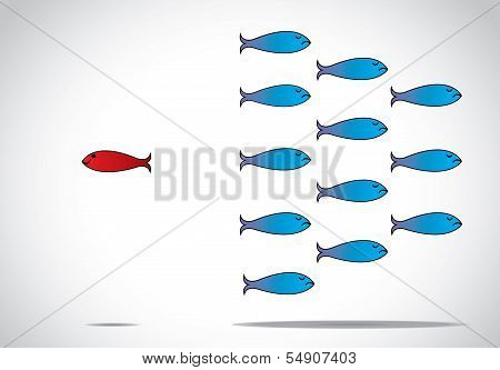 A Sharp Smart Alert Happy Red Fish With Open Eyes Going In Opposite Direction Of Group Of Sad fishes