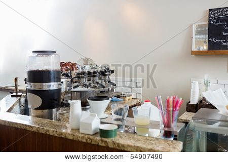 Coffeemaker on counter at cafeteria