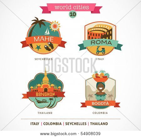 World Cities labels - Mahe, Roma, Bangkok, Bogota