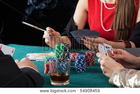 Friends Playing Poker Game
