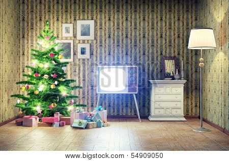 old styled interior with christmas tree and tv