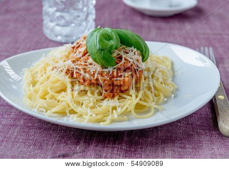 Pasta Bolognese With Basil On Top And Spaghetti Pasta And Some Parmesan Cheese And A Fork On The Sid