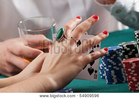 Woman Hands Holding Playing Cards