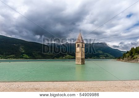 Scenic View Of Lago Di Resia In Northen Italy