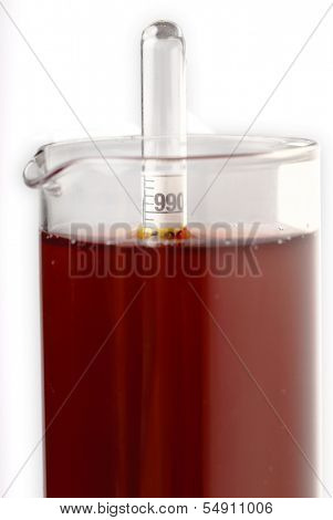 The density of wine in a test tube is determined through the use of a hydrometer, which floats at different heights according to the density of the liquid (in accordance with Archimedes' Principle