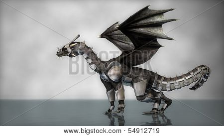 black dragon in armor