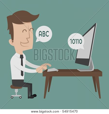 Businessman talking to a computer