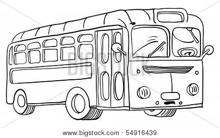 black and white cartoon illustration of a school bus