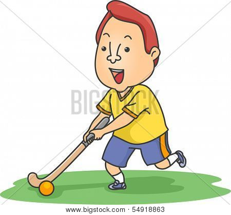 Illustration of a Field Hockey Player Moving a Ball Across a Field