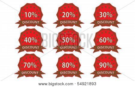 Red-brown Discount Badge