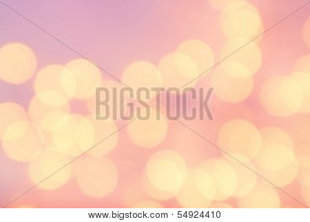 Bokeh Light Vintage Background. Bright Pink Color. Abstract Natural Blur Defocussed Background With