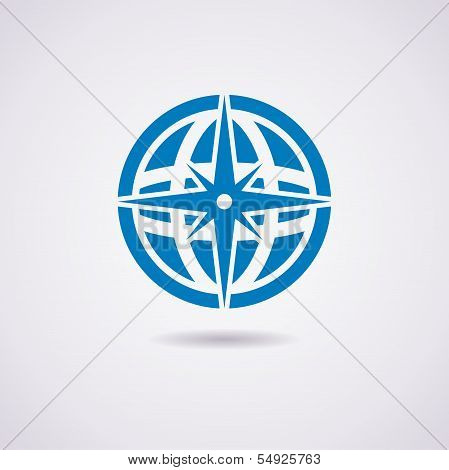 Vector Icon Of Earth Globe And Compass