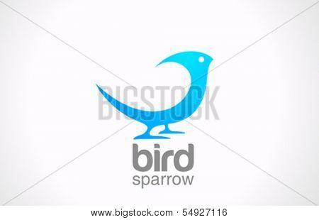 Bird abstract vector logo design template. Sitting Sparrow or Dove creative concept icon.