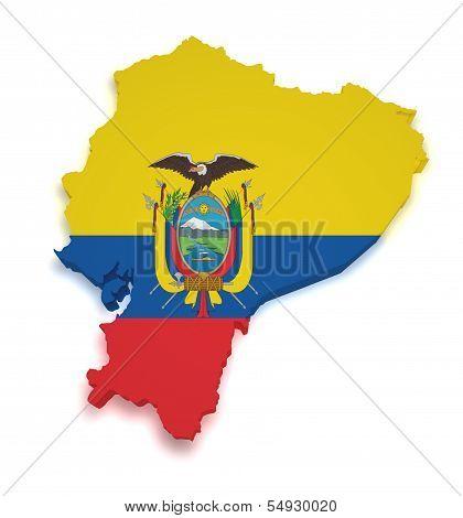 Ecuador Map Flag 3D Shape