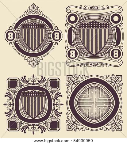Vintage Style card with USA shield. Elements organized by layers.