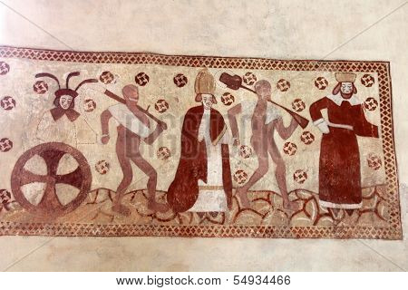 Dance Of Death Religious Medieval Wall Painting
