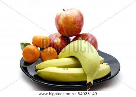 Fresh  Yellow Bananas with  Red Apples and Orange Mandarin