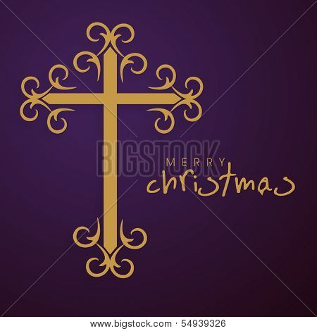 Merry Christmas celebration greeting card or invitation card with golden christian cross on purple background.