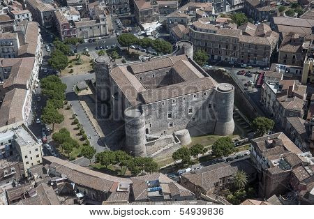 ursino castle in catania from above
