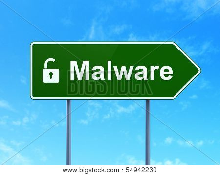 Safety concept: Malware and Opened Padlock on road sign background