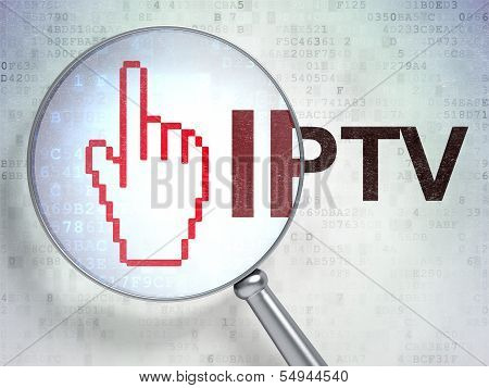 Web design concept: Mouse Cursor and IPTV with optical glass