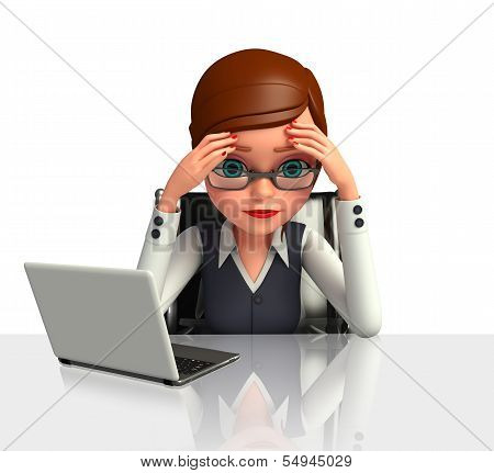 Young Business woman suffring headache