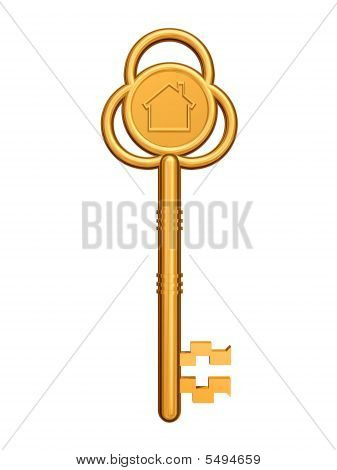 Golden Key With House