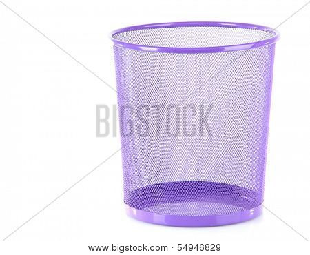 Empty office basket for papers, isolated on white
