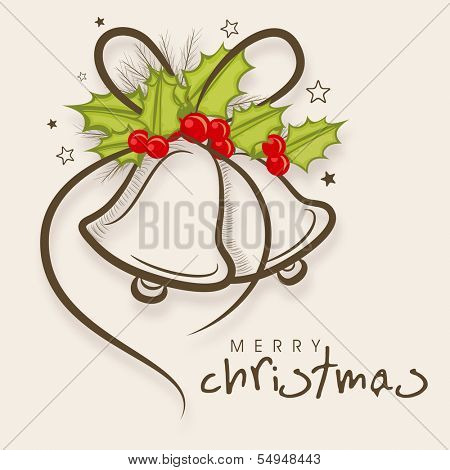 Merry Christmas celebration greeting card or invitation card with stylish jingle bells decorated by mistletoe on abstract background.