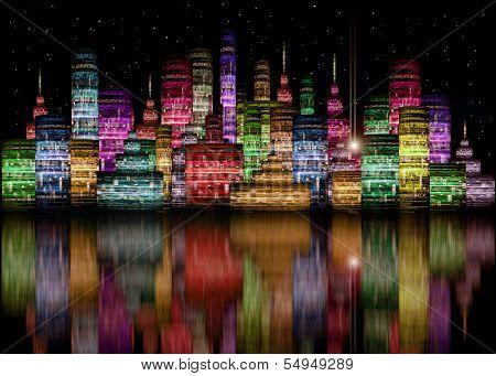 Colored Futuristic City Night Skyline