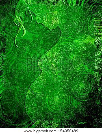 Pregnant Woman Silouette Green Illustration