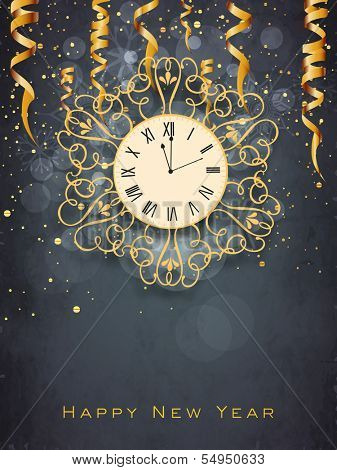 Happy New Year 2014 celebration flyer, poster, banner or invitation with floral decorated clock on grey background.