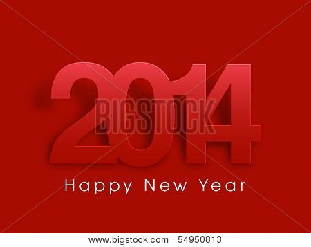 Happy New Year 2014 celebration poster, flyer, banner or invitation with stylish text in red color.