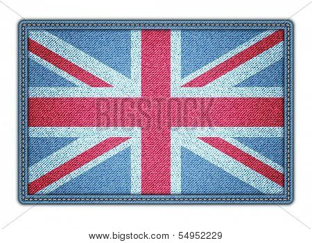 Great Britan flag. Realistic denim. Vector illustration. eps10