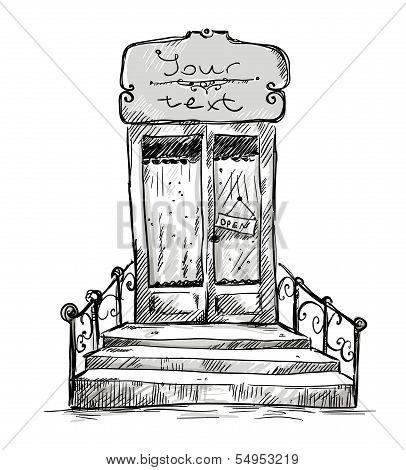 Entrance door, shop-window drawing