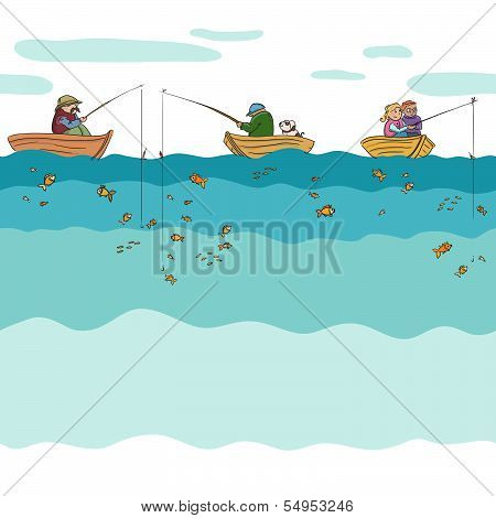 Fishing seamless background