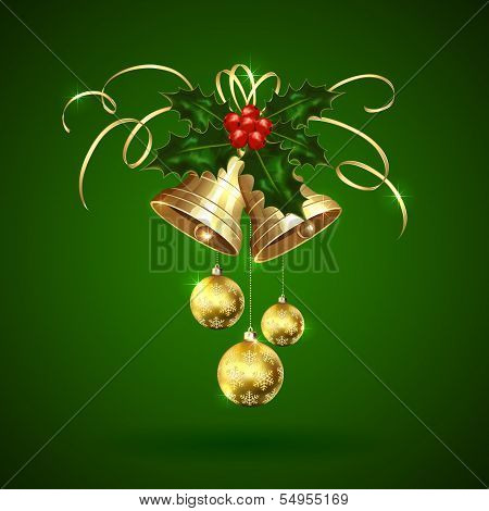 Christmas bells, holly berries and baubles