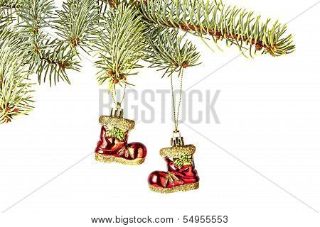 Christmas Decoration. Red Santa's Boots, Fir-tree  Isolated On White Background